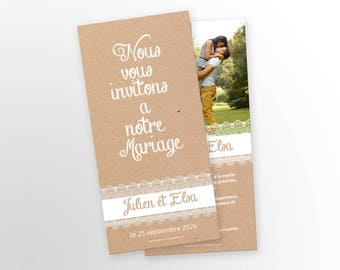 Wedding - rustic invitation - to customize