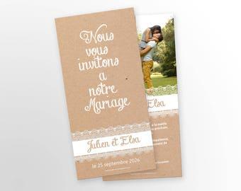 Wedding - rustic invitation - to customize