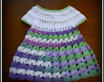 baby dress crocheted pretty stitch fancy white and multicolor 3 to 6 months