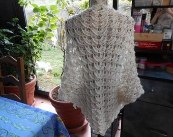 shawl acrylic dralon wool and sequin crochet stitch in relief