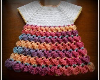 baby dress crocheted 3-6 month multicolored and white acrylic