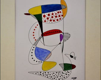 Original drawing in marker and watercolor on white bristol paper. White paper