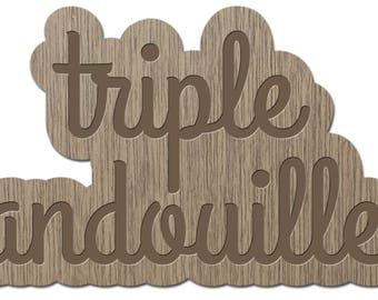 TRIPLE mug - the words young - laser cut wood - brooch