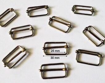 6 Passant en métal argenté  Boucle de réglage Coulissante Anse pour sac 30 mm