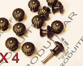 Set of 4 handle knob chiselled filing drawer furniture business locker 18 mm Bronze color
