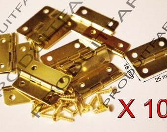 Set of 10 gold hinges for jewelry box chest box matching screw 25 * 18 mm