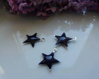 Navy charm 15mm blue enamel star pendant
