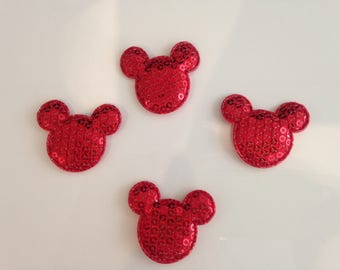 Set of 4 red mickey applique sequins 28mm