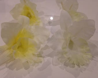 Set of 4 flowers Hawaiian orchids 75 mm yellow and white