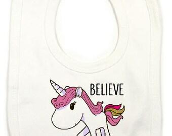 "Bib humor ""believe in unicorn"""