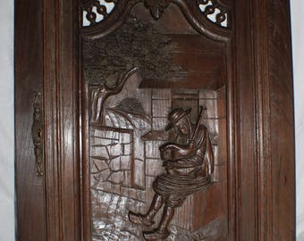 Hand Carved Breton Cupboard Door