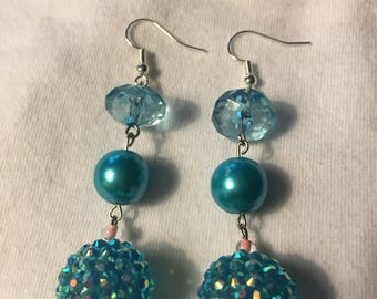 Blue iridescent bottom bead and pink  earrings