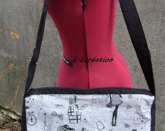 black and white color paris pattern fabric bag