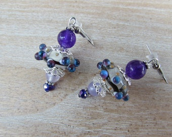 "Silver glass Lampwork bead earrings and stones ""Columbine"""