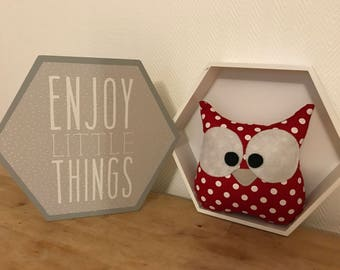 OWL plush red with white dots