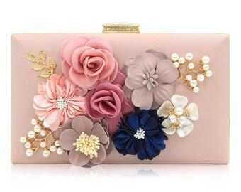 Pink Clutch, Flower Clutch, Floral Clutch, Wedding Clutch, Bridal Clutch, Bridesmaid Clutch, Party Clutch, Birthday Gift