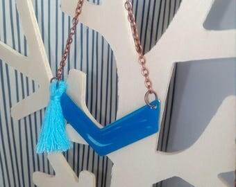 beautiful blue enameled chevron charm necklace