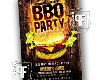 BBQ Party - BBQ Party Invite -  Backyard BBQ Party -  Bbq Invitation - Bbq Invites - Bbq Invitations