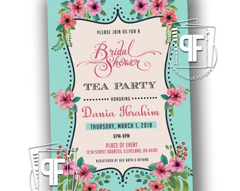 Bridal Shower Invitation - Floral Bridal Shower Invitation - Bridal Shower Tea Party Invitation - Bridal Shower Invites