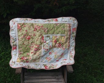 Vintage Quilted Pillow Sham, Red Ticking Accents