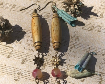 Watermelon Tourmaline Stone and Wood Dangle Earrings