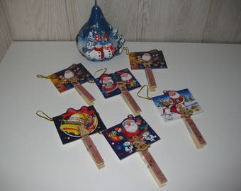 six Christmas place card clothespins