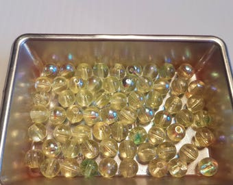 Round beads 6MM yellow Crystal