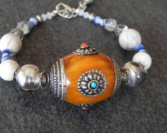 Tibetan bracelet large Center bead