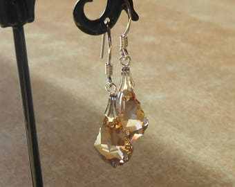 Earrings, 925 sterling silver, swarovski crystal golden shadow