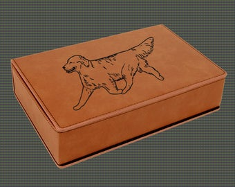 Leatherette Flask Gift Set - Golden Retriever Designs