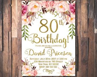 80th Birthday Invitation for women, 80th Birthday Invitation, 80th birthday, Floral Party Invitation, Women's Birthday, Roses 1024