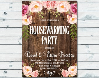 House Warming Invitation, House Warming Party Invite, Home Sweet Home, Wood New Home Invitation, Rustic Invitation, Boho Flower 1026