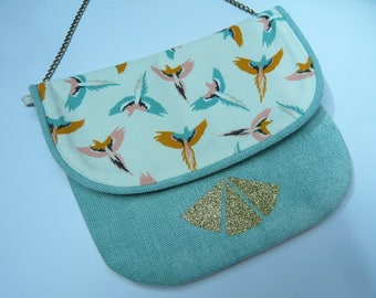 Shoulder bag pouch flap printed birds and Green Velvet with water