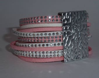 Pink and white suede Cuff Bracelet