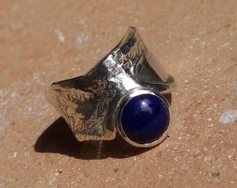 Silver ring, ring lapis lazuli, lapis lazuli, woman, blue stone ring, unique ring, wide ring, designer ring