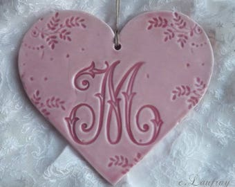 Great lace heart personalized earthenware and prints to hang, initials, letter ' I