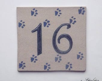 Number '16', original decorative ceramic door cat paws