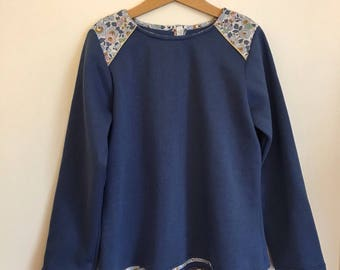 Blue denim and liberty betsy denim inserts quilted Sweatshirt