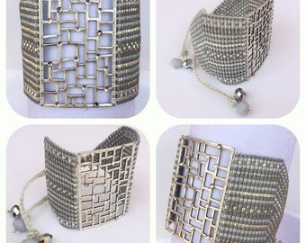 Cuff Bracelet weaved in pearls Miyuki and perforated silver plate