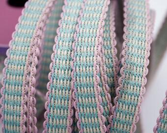 Stripe blue white pink wire Gold 1.4 cm x 1 m