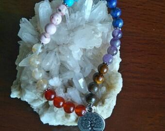 7 Chakras and tree of life bracelet 17cm