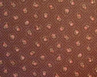 Coupon 55 X 49, drill tiny pink, caramel, patchwork Lecien fabric