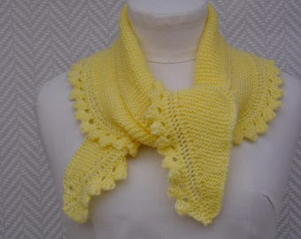 """Yellow """"Barfleur"""" knitted handmade scarf. Unique piece"""