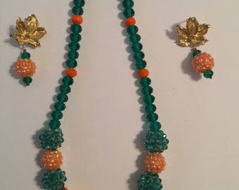 Orange and Green beaded Necklace set