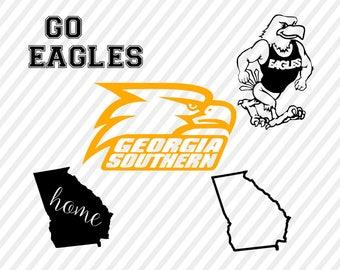 georgia southern eagles svg, southern eagles cuttable digital file, cricut file, silhouette  files, svg cutting files, sports logo svg