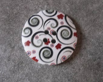 wood button, decor flowers 30mm