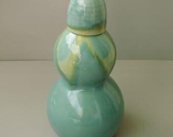 Vintage turquoise Japanese ceramic jug, vase signed