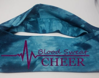Blood Sweat Cheer Blue Tie Die Headband