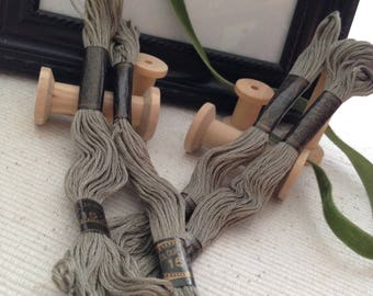 Skeins of vintage cotton embroidery FLOSS (#152) green ash