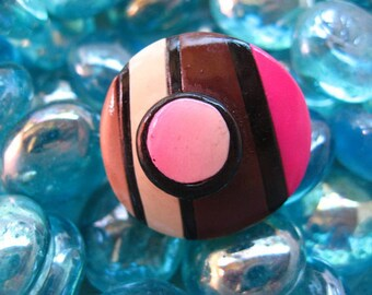 Fancy fuschia/Brown polymer clay ring